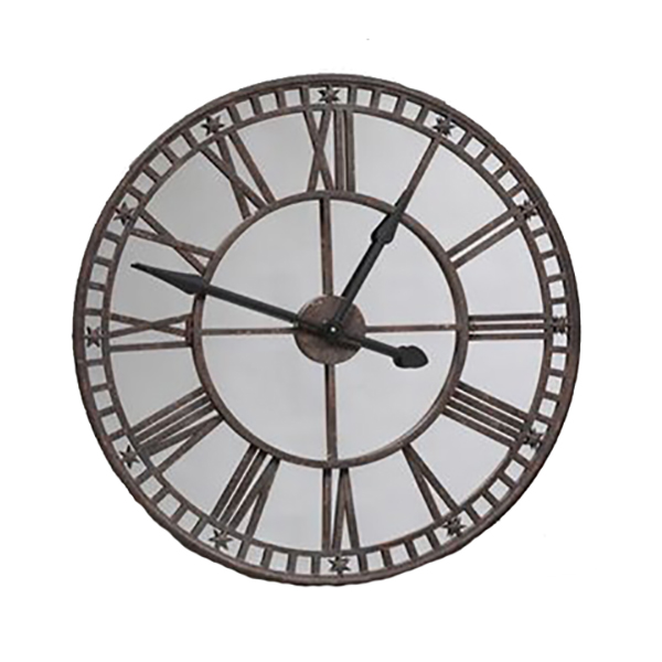 Industrial Large Antiqued Clock With Mirror Face