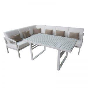 Aluminium corner sofa/dining set