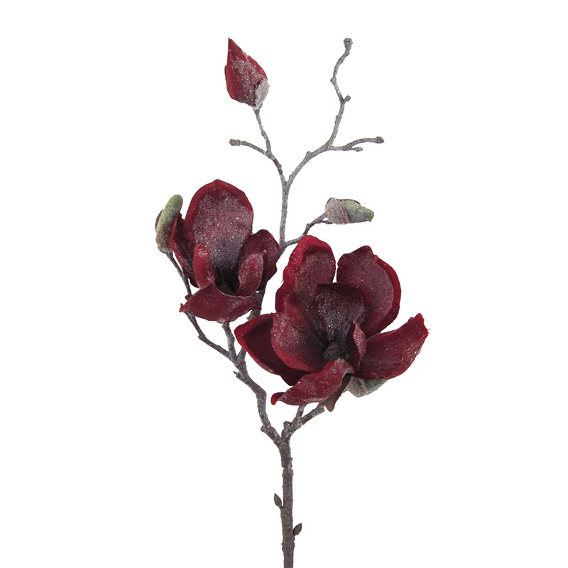 Artificial Flower Magnolia Frosted Red Hometrends Home