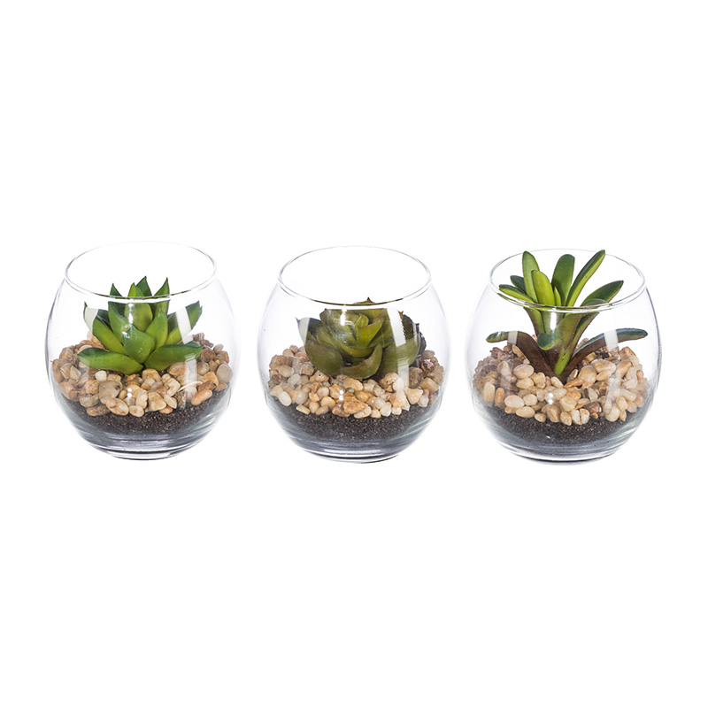 Artificial Succelents In Glass Pot Hometrends Home Amp Garden